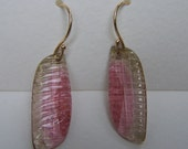 Carved Watermelon tourmaline slice, 14K Solid Gold  French earwire