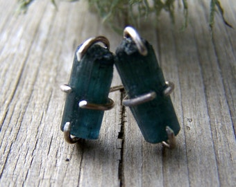 Blue Tourmaline Indicolite crystal, sterling silver prong earwire, earrings