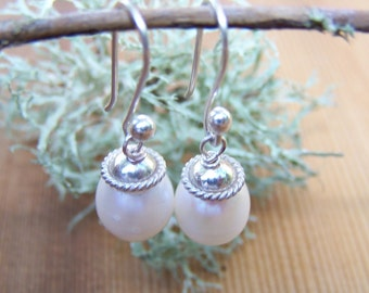 Freshwater   Pearl, sterling silver  earrings