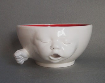 Yarn Bowl...Baby Face w/nose ring, ready to ship