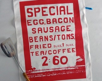 Big Breakfast screenprinted cotton tea towel
