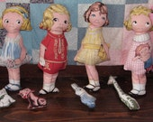 Sewn and Stuffed Dingle Doll  Fabric Aunt Lindy Out of Print Choice of 1,2,3 or 4 Different Dolls with Animals