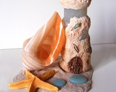 Beach Fairy House: Handcrafted, sand, shell, sea shells, sea glass, lighthouse, starfish, faerie, polymer, clay, bottle, coral, drift wood