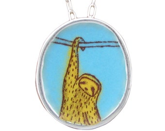 Hanging Sloth Necklace - Sterling Silver and Vitreous Enamel Sloth Pendant