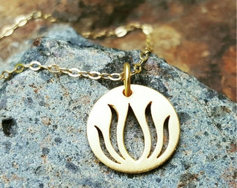 Gold Lotus Necklace - 18 Inch Yoga Jewelry