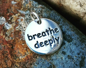 Breathe Deeply Necklace Charm Sterling Silver - Yoga Jewelry