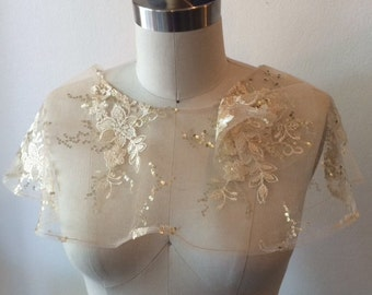 Gold Lace Capelet - One of a kind