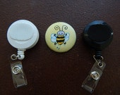 Fabric Covered Button for Clip on Retractable Badge Reel - Bumble Bee