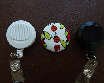 Ladybug Fabric Covered Button for Clip on Retractable Badge Reel