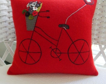 Recycled Cashmere Sweater Bicycle with Basket Pillow - Red and Grey