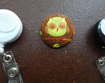 Fabric Covered Button for Clip on Retractable Badge Reel - Owl