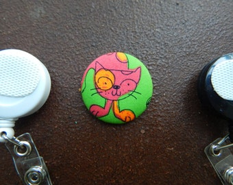Fabric Covered Button for Clip on Retractable Badge Reel - Cat