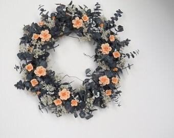 Wreath Cold Porcelain Flowers Peach Handmade Eucalyptus