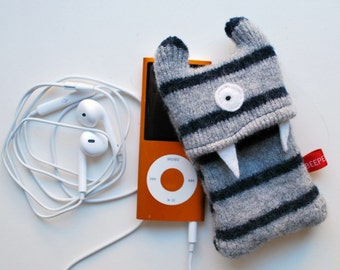 Gray and Navy Stripey Monster iPod Nano or Shuffle Cozy