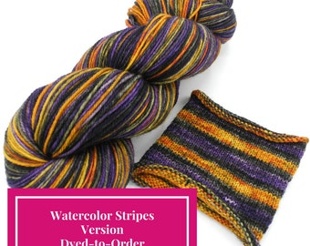 The Witch's Brew Watercolor Stripes, Self Striping Hand Dyed Targhee Sock Yarn - Dyed to Order