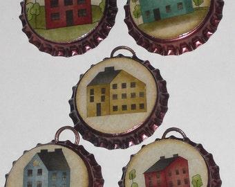 5 Bronze Bottle Caps Salt Box Country House Charms Mini Tree Ornaments Ornies Party Favors Scrapbooking Embellishments