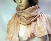 Felted Scarf nude color Evening Sands cashmere-soft silk merino wool large size