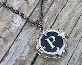 Letter P  Vintage Typewriter Key Wrap Necklace