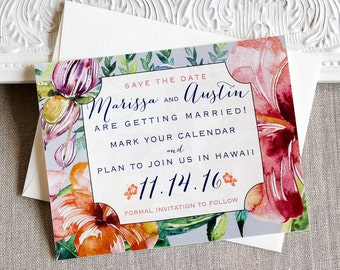 Tropical Hibiscus Watercolor Save the Date Cards -  Destination save the date - Island Wedding - tropical wedding - beach wedding - flowers