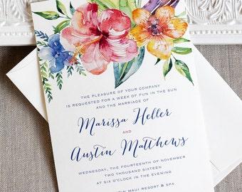 Tropical Hibiscus Watercolor Wedding Invitation- destination wedding invitation- Island wedding - beach wedding - tropical wedding - flower