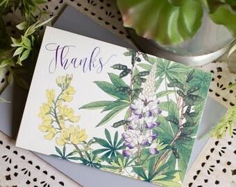 Texas Bluebonnet Thank You Notes - Wildflower thank you - botanical note cards - bluebonnet notecards - set of 20 - wedding thank you notes