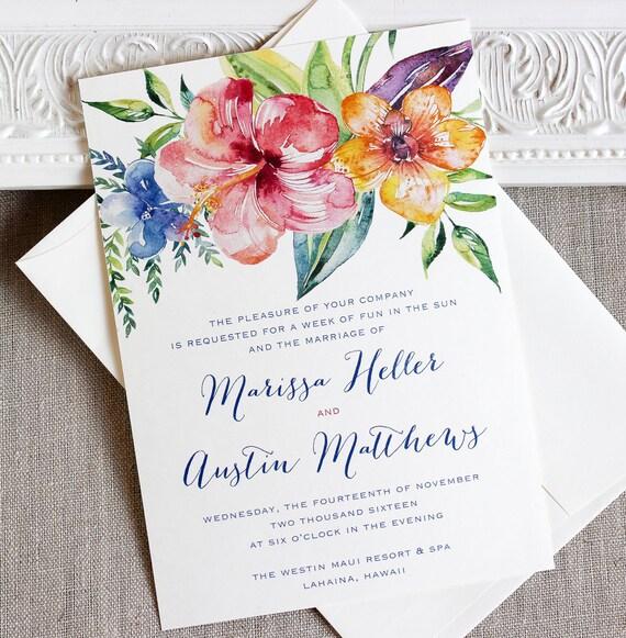 Tropical Wedding Invitations: Tropical Hibiscus Watercolor Wedding Invitation Destination