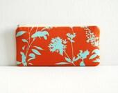 Wildflowers in Rust Long Zipper Pouch Pencil Case Joel Dewberry Ginseng
