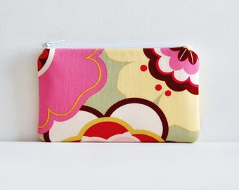 Coin Purse Small Zipper Pouch Alexander Henry Kleo in Pink and Sage