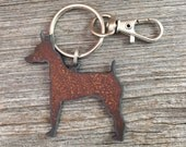 Miniature Pinscher Keychain, Mini Pin Key Chain, Pinscher Keyring, Key Ring, Dog Lover Gift, Gifts for Dog Mom Pet Loss Memorial Dog Lovers