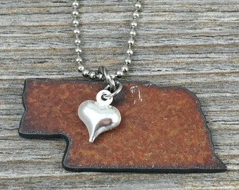 NEBRASKA Necklace SMALL, Nebraska Jewelry,  Rustic Metal State Outline Shape with Tiny Silver Heart Charm