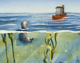 Seals and Tug watercolor print