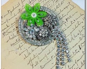 Bling vintage collage brooch rhinestones and green flower Upcycled pin