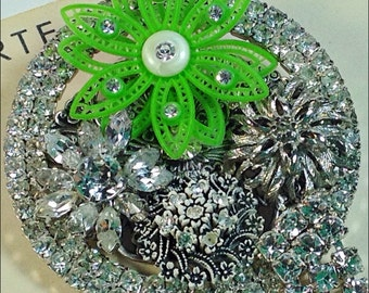 Bling vintage collage brooch rhinestones and green flower Upcycled pin Spring bloom Shannon