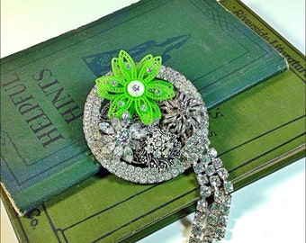 Bling vintage collage brooch rhinestones and green flower Upcycled pin Spring bloom