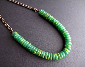 Konkomba African Tribal Bead Necklace, Rare Vintage Glass Beaded Necklace< Green U Shaped Bib