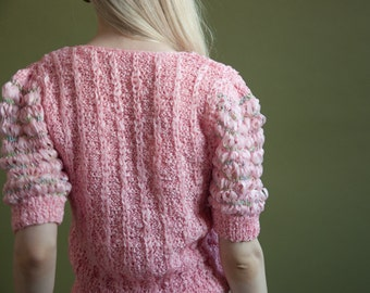 on hold. pink ribbon knit puff sleeve sweater / pink unique sweater / s / 1675t / B21
