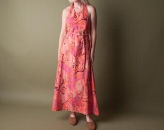 luv jah ethnic print halter wrap dress / open back / vintage 70s maxi dress / s / m / 1432d