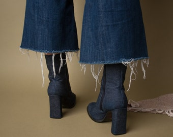 modern moonlight denim ankle boots / high heel ankle boots / 90s boots / 6 / 571s