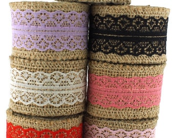 """1.5"""" Burlap with Lace Ribbon for Craft - 2 yds"""
