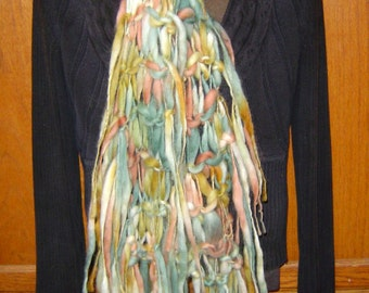 Sedona Hand Knitted Fringed Wool Scarf a Split Rock Ranch Original Design Creation Southwest colors
