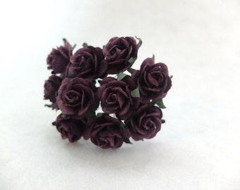 10 20mm plum paper roses - plum paper flowers - 2cm paper rose