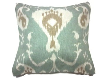 Decorative Pillow Cover Ikat Design Spa Blue Ivory Deep Taupe Same Fabric Front/Back Toss Throw Accent 18x18 inch x