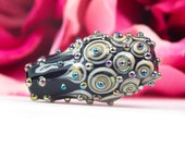 Byzantine Ornate Black Lustre Focal Bead - Handcrafted Lampwork Glass Bead