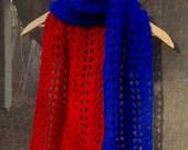 Superhero scarf blue and red scarf fangirl super man super girl pop art style minimalist design