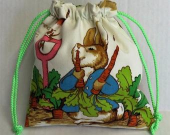 Eco Friendly Reuseable Drawstring Tote Baby Toddler Kid Bag -  Vintage Peter Rabbit Beatrix Potter Fabric
