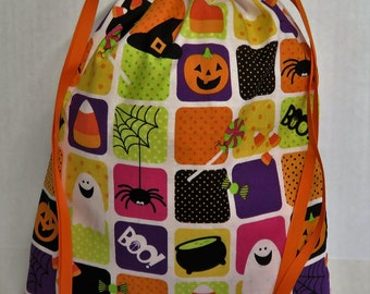 READY TO SHIP - Halloween Trick or Treat Candy Drawstring Tote Bag - Multi Color Fun Squares Ghosts Silly Spiders Candy Corn