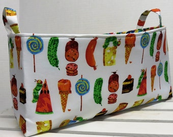 Long Diaper Caddy - Storage Container Basket Fabric Organizer Bin - Green Inchworm and Snacks Fabric