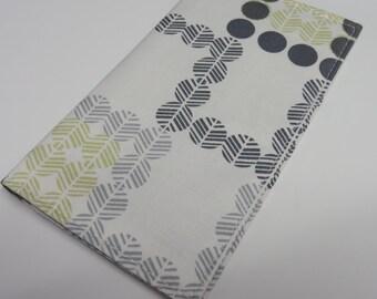 Checkbook Cover - Gray Mustard Gold Dots Geometric Fabric
