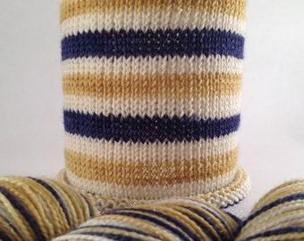 Blue Christmas: SPARKLE base, hand-dyed self-striping holiday sock yarn