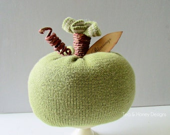 Rustic Sweater Pumpkin, Recycled, Autumn Decor, Fall Decor, Green Apple, Upcycled